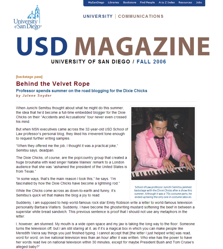 USD Magazine » Around the Park Fall 2006 » Behind the Velvet Rope